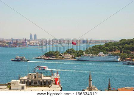 Turkish flag over Bosphorus the cityscape of Istanbul.