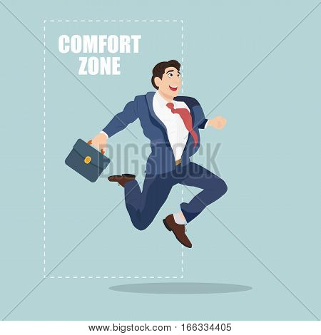 Businessman jumping out of the comfort zone to success. Cartoon Vector Illustration.