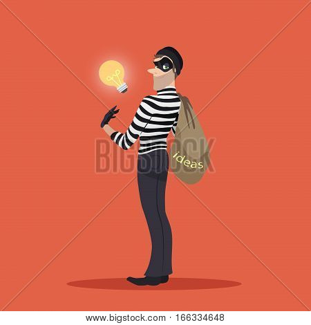 Man in black mask stealing lamp bulb. Business metaphor of human thief in black mask stealing idea, intellectual property, copyright in form electric lamp
