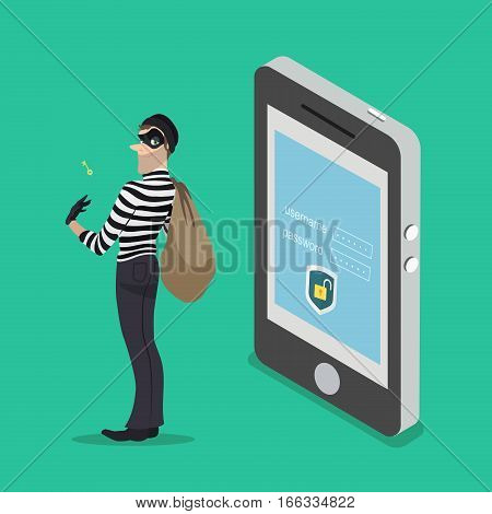 Thief with a key access from a smartphone. The robber steals all the data from your phone