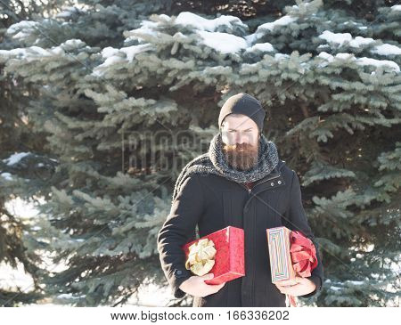 Happy Man With Gift Boxes