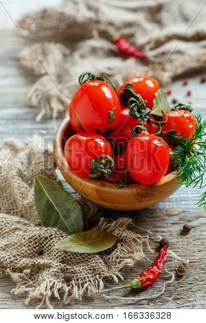 Salted Cherry Tomatoes With Dill And Spices.