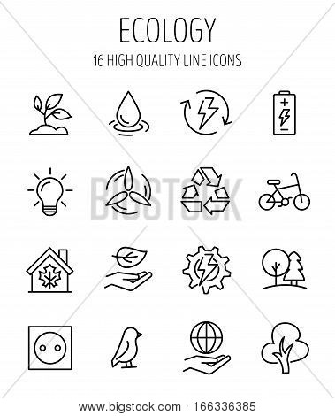 Set of ecology in modern thin line style. High quality black outline recycling symbols for web site design and mobile apps. Simple ecology pictograms on a white background.