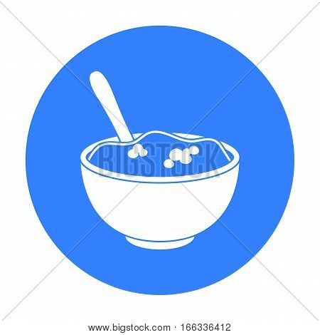 Mashed potatoes icon in blue style vector illustration.