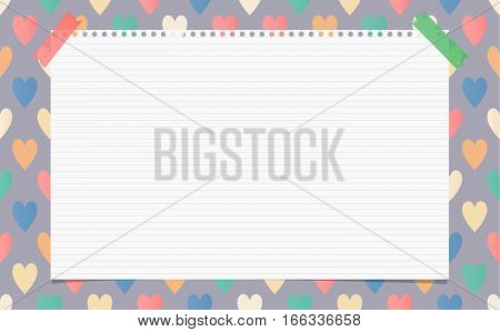 White ruled notebook, copybook, note paper stuck on pattern created of colorful heart shapes.