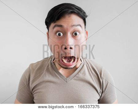 Overly Shock And Surprise Face Of Man.