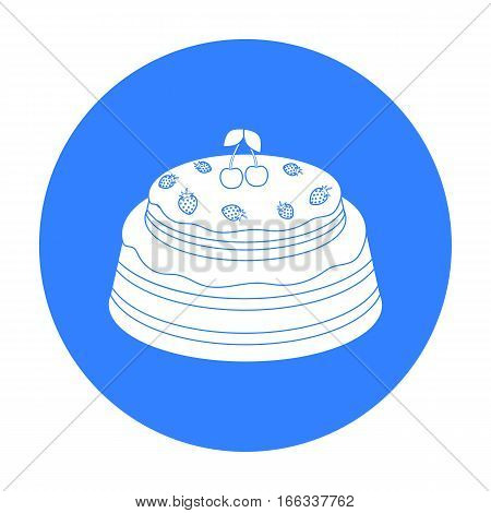 Cake with cherry icon in blue design isolated on white background. Cakes symbol stock vector illustration.