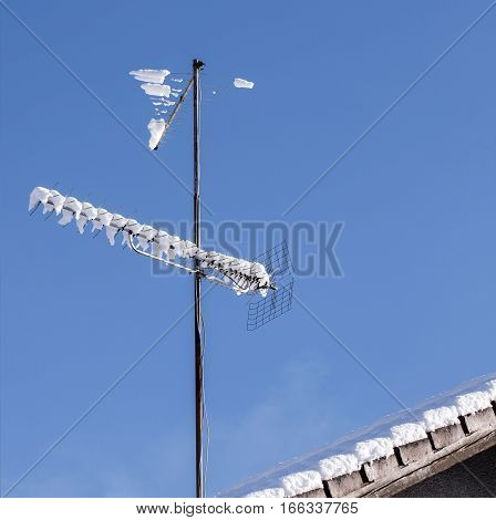 Analog tv antenna covered with some snow.
