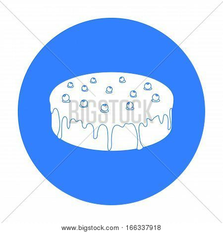 Bilberry cake icon in blue design isolated on white background. Cakes symbol stock vector illustration.