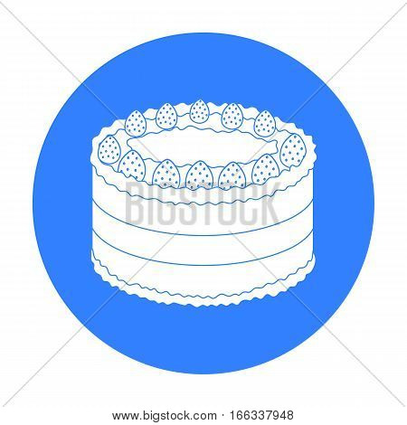Strawberry cake icon in blue  design isolated on white background. Cakes symbol stock vector illustration.
