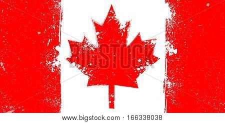 Grunge flag of Canada with splash and spots vector illustration