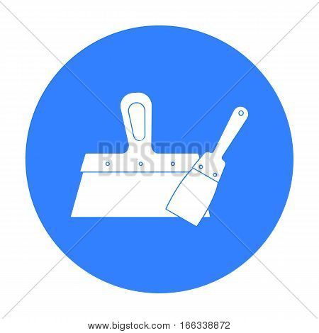 Putty knives icon in blue style isolated on white background. Build and repair symbol vector illustration.