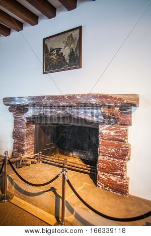 Berchtesgaden Germany - September 28 2016: View of the fire place in the Kehlsteinhaus also known as Hitler's Eagle Nest near Berchtesgaden Germany.
