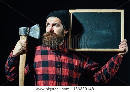 Man With Axe And Chalkboard