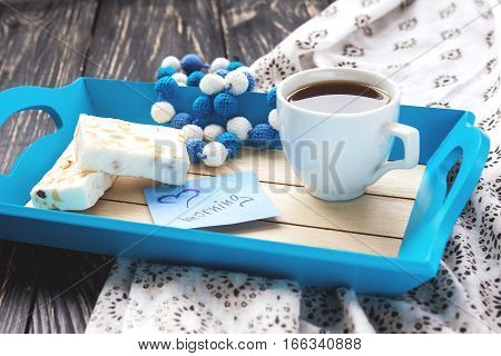 Egypt Nougat And Cup Of Coffee In Tray