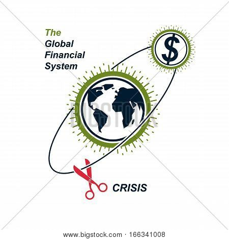The Crisis In Global Financial System Conceptual Logo, Unique Vector Symbol. Banking System. The Glo