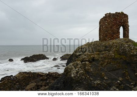A view of an old stone tower at Elie