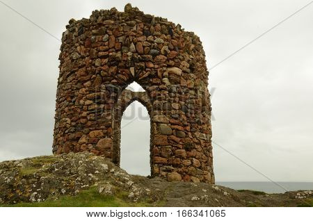 A view of the old stone tower at Elie