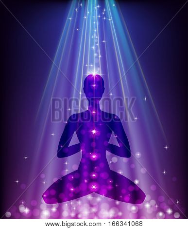 Silhouette of a man sitting in a lotus pose on a shiny background.