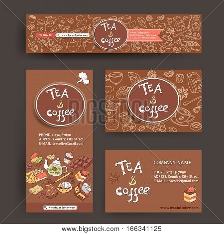 Vector design template for coffe and tea shop or cafe. Site header,  business card, brochure and flyer. Dark tasty color. Sweets and deserts, cozy cute doodle style.