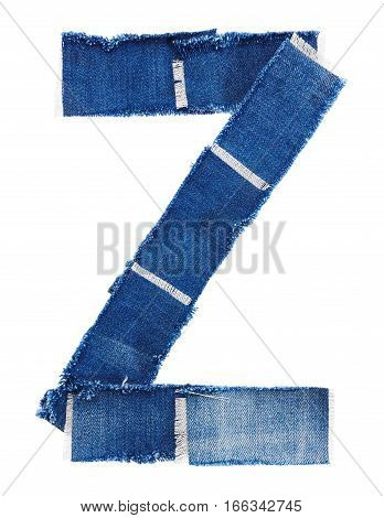 Alphabet from jeans fabric isolated on white background. Letter Z