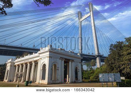 Princep Memorial (ghat) a notable landmark in Kolkata overlooking the Vidyasagar bridge (setu) across river Hooghly.