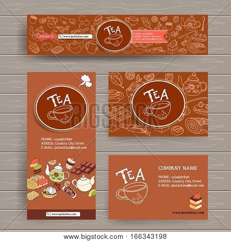 Vector design template for tea shop, teahouse or cafe. Site header,  business card, brochure and flyer. Dark tasty color, wooden background. Sweets and deserts, cozy cute doodle style.