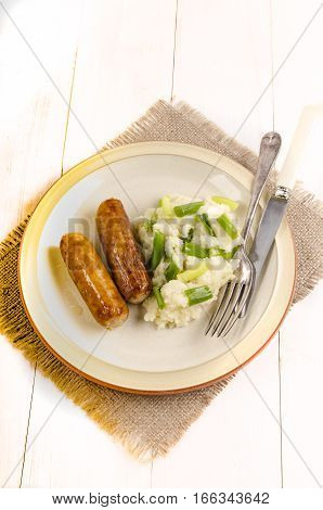 authentic irish champ and sausages on a plate