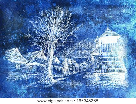 vintage mountain oldtime willage with wooden houses and belfry, pencil drawing on papier, frozen and invert effect