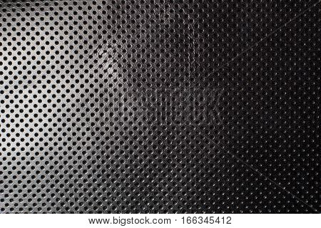 Black and white gradient perforated leather texture background skin dots
