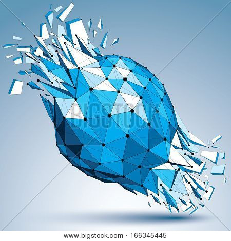 Vector Dimensional Wireframe Blue Object With Dotted Lines, Spherical Demolished Shape With Fracture