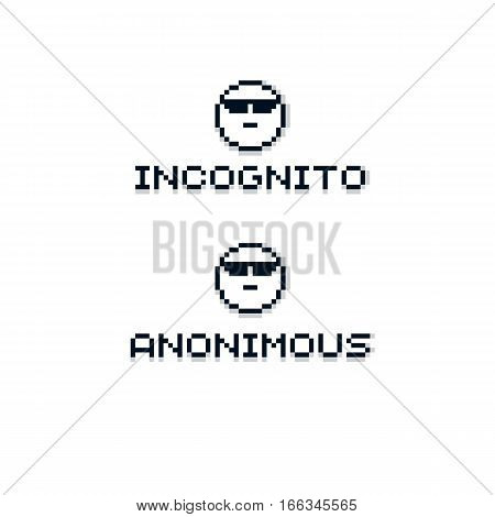 Anonymous Personality Wearing Eyeglasses. Vector Retro Sign Made In Pixel Art Style. Geometric Pixil