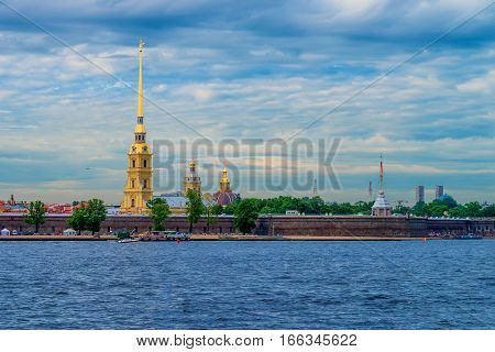 Scenic river view of the Peter and Paul Fortress in Saint Petersburg, Russia