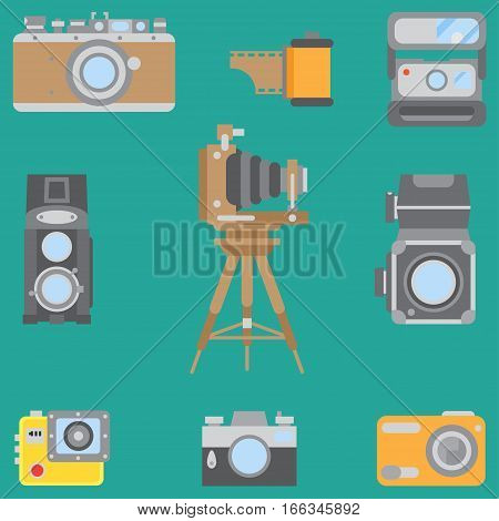 Line flat color vector icon set with retro analog film cameras. Photography and art. Reflex 35mm photocamera. Cartoon style. Illustration, element for your design. Photographic lens. Simple. Shoot.