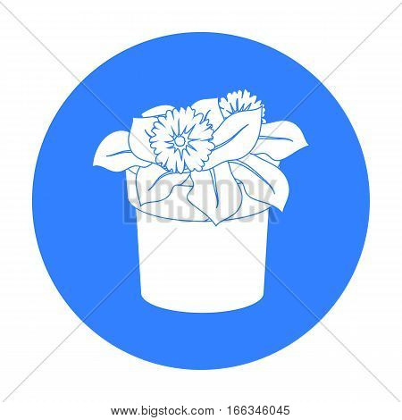Flower in the pot icon in outline design isolated on white background. Bio and ecology symbol stock vector illustration.