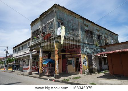 June 9 2016 Colon Panama: one of the many unkept buildings of the tropical port town with high crime rate