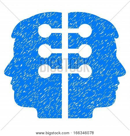 Dual Head Interface grainy textured icon for overlay watermark stamps. Flat symbol with unclean texture. Dotted vector blue ink rubber seal stamp with grunge design on a white background.