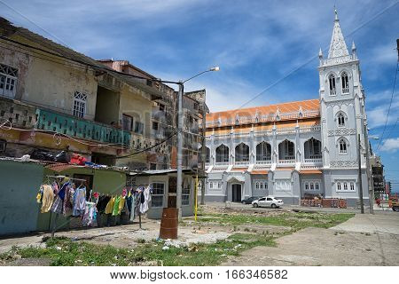 June 9 2016 Colon Panama: a renovated church stands out from the slums of the port town