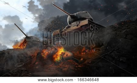 Two battle tanks in the wreckage of the downed plane. Battle scene at the ravine of garbage