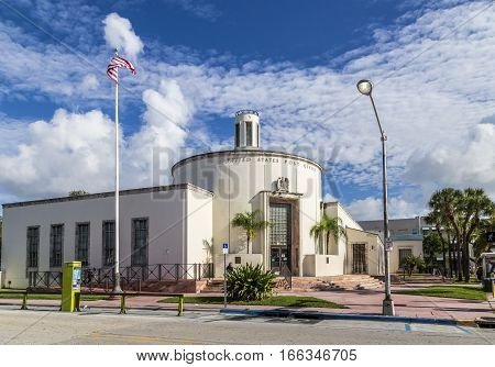 Old Vintage United States Post Office In Art Deco Style Near Ocean Drive