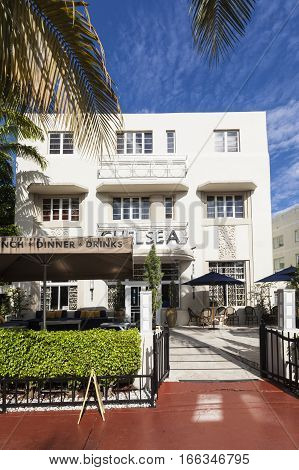 Old Vintage Hotel Chelsea In Miami Beach  In Art Deco Style