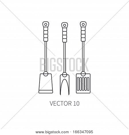 Line flat vector kitchenware icons fork, furcula, scapula. Cutlery tools. Cartoon style. Illustration, element for your design. Equipment for food preparation. Kitchen. Household. Cooking. Cook.