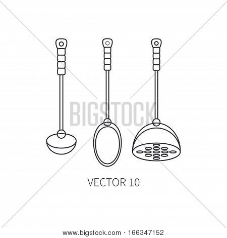 Line flat vector kitchenware icons - spoon, scoop, pestle. Cutlery tools. Cartoon style. Illustration, element for your design. Equipment for food preparation. Kitchen. Household. Cooking. Cook.