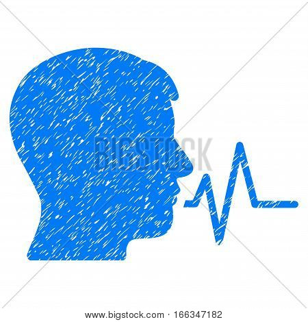 Person Speech Signal grainy textured icon for overlay watermark stamps. Flat symbol with dirty texture. Dotted vector blue ink rubber seal stamp with grunge design on a white background.