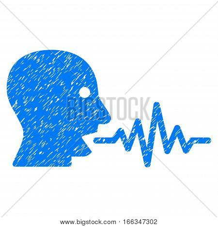 Talking User Signal grainy textured icon for overlay watermark stamps. Flat symbol with dirty texture. Dotted vector blue ink rubber seal stamp with grunge design on a white background.