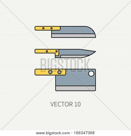 Line color vector kitchenware icons knife, chopper, backsword. Cutlery tools. Cartoon style. Illustration, element for your design. Equipment for food preparation. Kitchen. Household. Cooking. Cook.