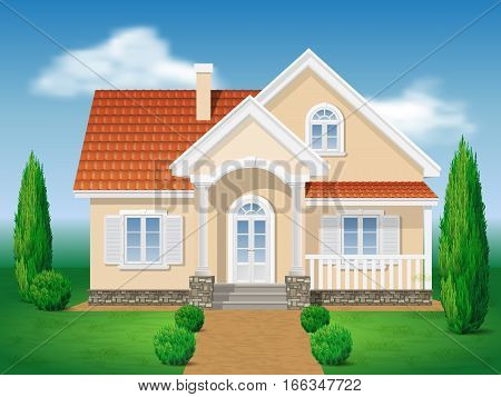 Country cottage. Front of the house and garden. Grassy lawn and of thuja. Vector detailed illustration.