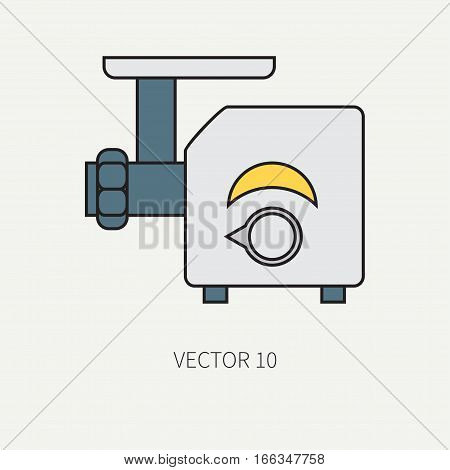 Line color vector kitchenware icons - meat grinder. Cutlery tools. Cartoon style. Illustration, element for your design. Equipment for food preparation. Kitchen. Household. Cooking. Cook. Mincer.