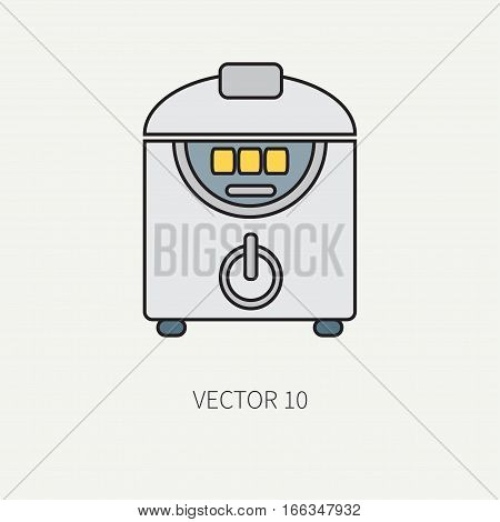 Line color vector kitchenware icons - double boiler. Cutlery tools. Cartoon style. Illustration, element for your design. Equipment for food preparation. Kitchen. Household. Cooking. Cook. Steamer.