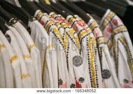 Balinese traditional white women's clothes at a market